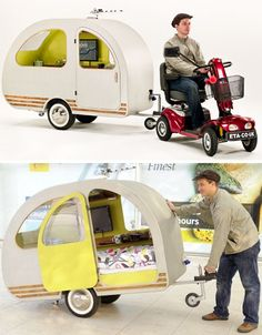 5 MPH Home: Ultra-Tiny Caravan Towed by Mobility Scooter