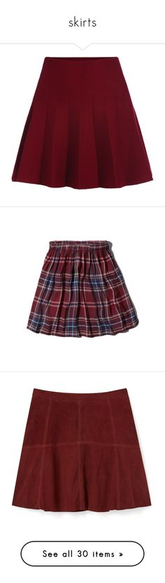 """skirts"" by fairly-local-on-the-radio ❤ liked on Polyvore featuring skirts, bottoms, saias, red, maroon skirt, a line flared skirt, elastic waist skirt, knee length a line skirt, red flared skirt and mini skirts"