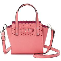 Candie's® Bryant Bow Triple-Entry Mini Satchel (£16) ❤ liked on Polyvore featuring bags, handbags, light pink, red satchel handbags, hand bags, mini satchel handbags, mini satchel purse and red satchel purse