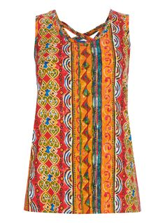 Embrace the sun in this vibrant vest, designed with a button front and stylish cross straps at the back. Its perfect for pairing with drapey shorts or maxi skirts. Multicoloured vest Sleeveless Button front Cross back straps Model's height is 5'11