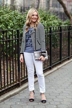 Dress up white pants with a blazer.