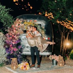 An airstream is the perfect thing for your adventure wedding.  Rent our BloomingAirstream from bloomingbelles Las Vegas and you have a mobile wedding venue that doubles as a honeymoon suit.  Las Vegas Wedding. Elopement Wedding. Vegas Wedding. Airstream renovation. Wedding Ideas. Microwedding. Covid Wedding. florist. Floral design.  Wedding Florals. Elopement Wedding, Elope Wedding, Wedding Venues, Wedding Ideas, Airstream Renovation, Las Vegas Weddings, Floral Wedding, Florals, Floral Design