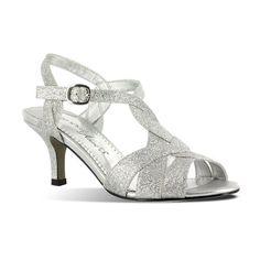 Easy Street Glamorous Women's Glitter Dress Sandals, Size: medium (7.5), Grey