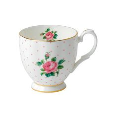 ROYAL ALBERT Pink Roses mug ($19) ❤ liked on Polyvore featuring home, kitchen & dining, drinkware, pink mug, royal albert and rose mug
