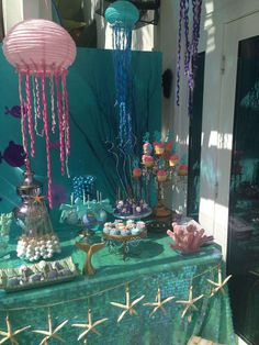 Birthday Party Ideas Irene R's Birthday / - Photo Gallery at Catch My Party Mermaid Theme Birthday, Little Mermaid Birthday, Little Mermaid Parties, Girl Birthday, 14 Birthday Party Ideas, Birthday Party Decorations, 1st Birthday Parties, Ideas Party, Mermaid Table Decorations