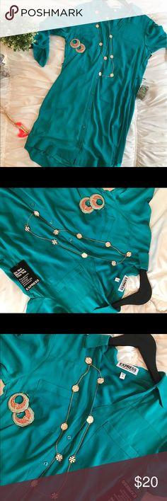 Teal color short dress by express Teal color short dress by express Express Tops Blouses