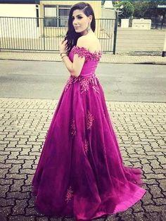 Beautiful Prom Dresses Fuchsia A-line Off-the-shoulder Long Prom Dress/Evening Dress JKL135