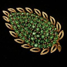 Rhinestone Leaf Bush Pin Vintage Brooch Lisner   eBay