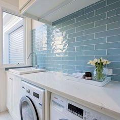 Best Laundry Room Design Ideas And Decorations Blue Tiles, Laundry Room Design, Coastal Decor, Washing Machine, Home Appliances, Garage, Room Ideas, Journey, Design Ideas