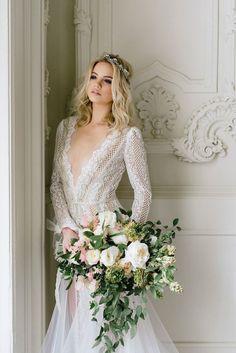 Dramatic Glam Inbal Dror Wedding Dress with Romantic Florals