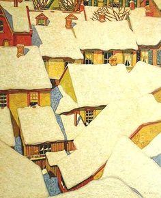 CASSON, A.J.   (1898-1992)  Canadian artist  -  Toits vus de la cour - Art Gallery of Ontario, Toronto