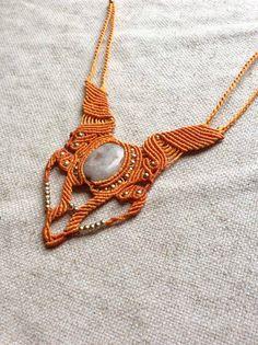 handmade macrame necklace, gemstone necklace, sunstone necklace, micro macrame necklace, orange necklace