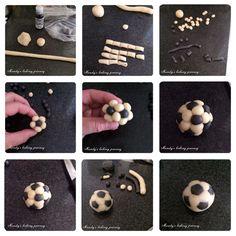 Mini football made using marzipan Fondant Toppers, Fondant Cakes, Cupcake Cakes, Soccer Birthday Cakes, Football Birthday, Fondant Figures, Cupcakes Lindos, Soccer Ball Cake, Deco Ballon