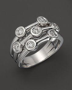 Roberto Coin Exclusive 18K White Gold Diamond Bezel Ring