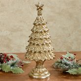 Holly Christmas Tree Table Sculpture In Gold