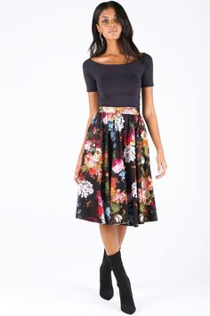 Van Dael Vase Pocket Midi Skirt - 7 Day Unlimited - New - Collections Clothes For Sale, Dresses For Sale, Clothes For Women, Swimwear Sale, Black Milk Clothing, Midi Skirt, Floral Prints, Van, Pocket
