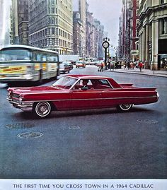 """Vintage Ad - 1960s Cadillac NYC 1964 Flatiron Building NYC """"Cadillacs were a status symbol, there is no real status car left in my opinion. Mostly cars are now made to be rolling pieces of ugly junk. I want beautiful luxury cars back again. """" Cat Meow (with feeling!)"""