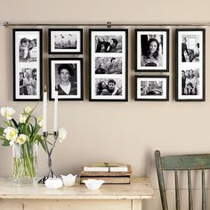 Photo Frames... Eye hooks and a rod. So much better than nails or screws!!
