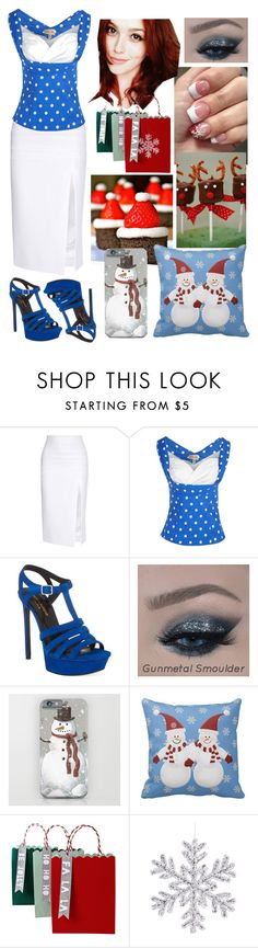 """""Christmas Time Is Here!"" Hello, December! ♥"" by annacastrolima ❤ liked on Polyvore featuring Cushnie Et Ochs, Yves Saint Laurent, Meri Meri, Christmas, blueandwhite, december, Christmasoutfits and plus size clothing"