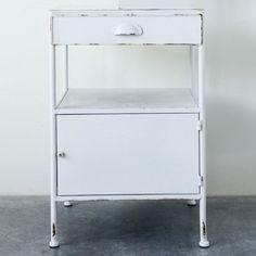 Distressed Metal Single Drawer End Table