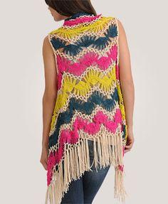 Forever 21 Multi Coloured Fringed Hairpin Crochet Vest