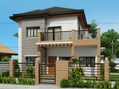 Marcelino Model is a a four bedroom two storey house that can be built in a x meter lot. With Patio at the front, the Balcony at the second floor serves as a shade. The living room is 25 sq. which opens to the dining and kitchen. Two Story House Design, 2 Storey House Design, Small House Design, Modern House Design, Modern Houses, Bedroom House Plans, House Floor Plans, Philippines House Design, Two Storey House Plans