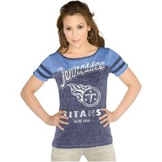 Touch by Alyssa Milano Tennessee Titans Women's All-Star Tri-Blend Slim Fit Burnout T-Shirt - Navy Blue