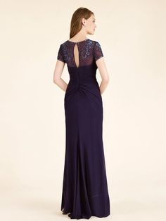 Cap Sleeves Illusion Neckline Beaded Chiffon Mother of The Bride Dresses 99803029
