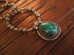 SOLD! Beautiful! Vintage 1940's Navajo Sterling Silver Bead Necklace with Stunning! Sterling Silver and Large Turquoise Stone Pendant