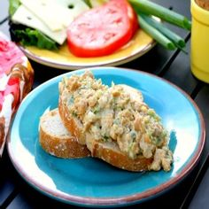 Chickpea salad sandwiches - perfect for parties, picnics or for a lunchtime meal. Similar to a traditional chicken salad, but meatless!