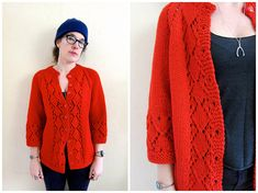 Your place to buy and sell all things handmade Red Cardigan Sweater, Chunky Knit Cardigan, Sweater Coats, Red Button, Vintage Sweaters, Hand Weaving, Sweaters For Women, Knitting, Handmade