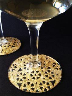 Beautiful wine glasses using doilies and Modge Podge