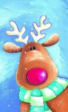 Looking for cute holiday art projects - paint a reindeer! by lillian