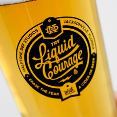 Liquid Courage - Pint No. 007 of the Creativity Fluid Project - lots of awesome designs by your fave designers - this one's by Half Tone Def #beer #design #graphics