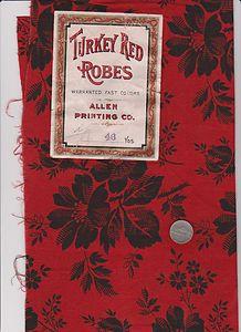 "Antique Turkey Red Black Vtg Calico w Original Label 19th C 19thC Fabric   eBay seller alexandra11, 23.5"" x 14.5"""