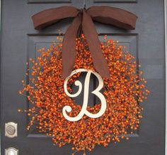 Fall Berry Wreath- Thanksgiving Decor- Berry Fall Wreath with Burlap Ribbon- Hostess Gift - Pumpkin, XXL inch Thanksgiving by ElegantWreath on Etsy Fall Crafts, Holiday Crafts, Diy Crafts, Thanksgiving Wreaths, Fall Wreaths, Diy Thanksgiving Decorations, Diy Fall Wreath, Do It Yourself Decoration, Fall Home Decor