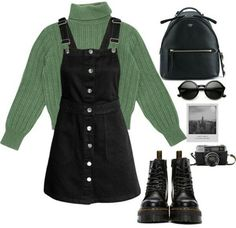 Overalls are really cute 🌿 Punk Outfits, Teen Fashion Outfits, Cute Casual Outfits, Mode Outfits, Retro Outfits, Fall Outfits, Stylish Outfits, Slytherin Clothes, Teenager Outfits