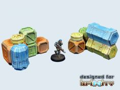 FRP GAMES - PRODUCT - Infinity Sci-Fi Terrain:Cargo Crates set 1 (2)