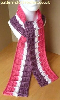 Free crochet pattern striped raised scarf usa