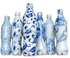 Delft blue coke bottles, porcelain - wow these are awesome I need them in my life!