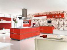 Keuken I Rood I Eiland kap