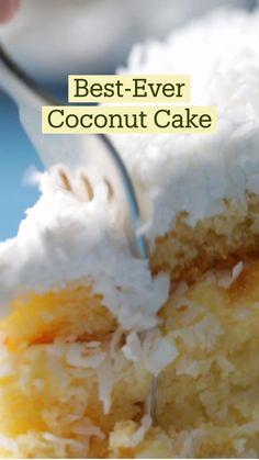 Coconut Desserts, Coconut Recipes, Easy Desserts, Best Coconut Cake Recipe, Delicious Desserts, Yummy Food, Fun Baking Recipes, Sweet Recipes, Cake Recipes
