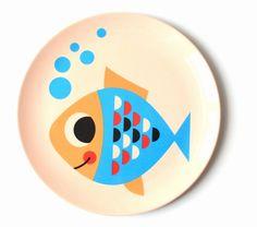 Original #fish plate by #Ingela P #Arrhenius from www.kidsdinge.com  https://www.facebook.com/pages/kidsdingecom-Origineel-speelgoed-hebbedingen-voor-hippe-kids/160122710686387?sk=wall