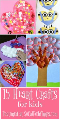 Are you looking for a cute heart craft for Valentine& day? Check out this list of 15 Easy Heart Crafts for Kids that are perfect for children of all ages, including toddlers and preschoolers. Kinder Valentines, Valentines Day Activities, Valentine Day Crafts, Craft Activities, Preschool Crafts, Holiday Crafts, Fun Crafts, Spring Crafts, Decor Crafts