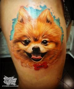 Adorable puppy portrait by @artfactorytattoo! Done with World Famous Ink…