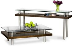 The Hokkaido tables have an elegant simplicity that disguises tremendous strength. A richwood grain surrounds the cutout section on the lower shelf, while the U