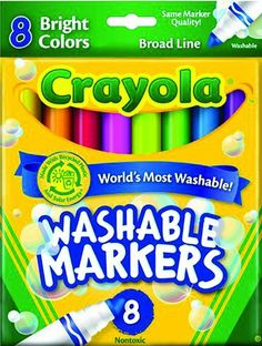 Crayola Standard Non-Toxic Washable Window Marker Assorted 1//2 in Conical Tip
