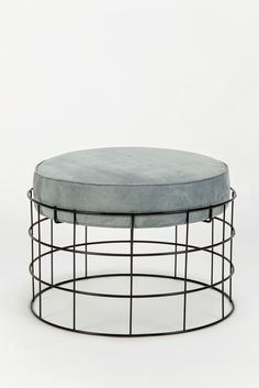 Rare Wireframe T1 Plus Stool with Suede Leather by Verner Panton                                                                                                                                                                                 More