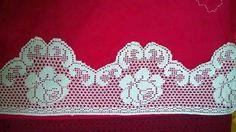Gülnur Filet Crochet, Zig Zag Crochet, Crochet Lace Edging, Crochet Borders, Crochet Flower Patterns, Crochet Designs, Crochet Doilies, Crochet Flowers, Knit Crochet