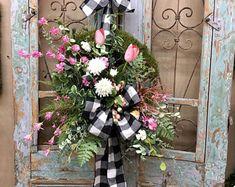 Holiday Wreaths Door Wreaths Wreaths by WreathsByRcollection Wreaths For Sale, Door Wreaths, Burlap Wreaths, Moss Wreath, Grapevine Wreath, Easter Wreaths, Holiday Wreaths, Diy Spring Wreath, Christmas Swags